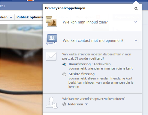 Facebook Snelkoppelingen Contact