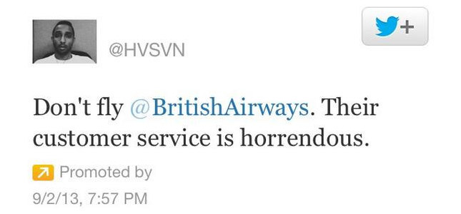 Boze klant koopt Promoted Tweet om te klagen over British Airways