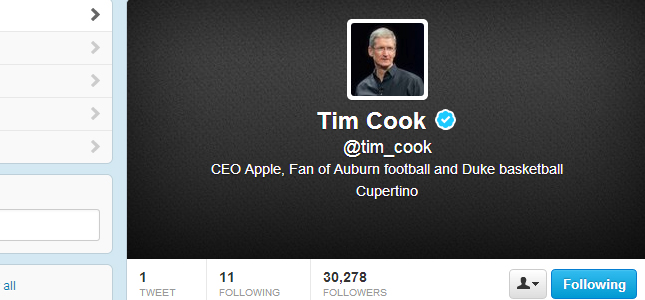 Apple CEO Tim Cook opent account op Twitter